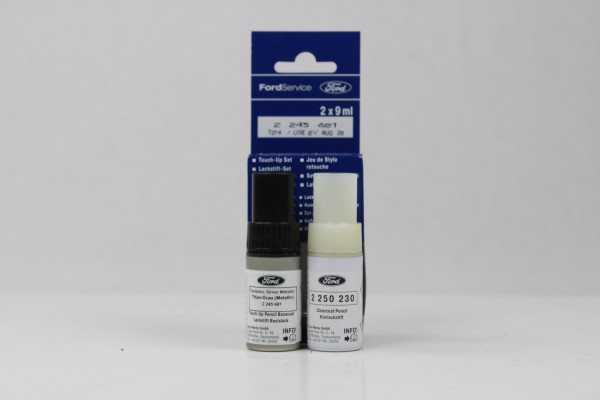 Lackstift Titan-Grau-Metallic + Klarlack je 9ml